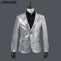 2018 Silver sequins jacket Male slim tide Coat DJ singer Stage costume Prom Host Tide Outerwear Vocal concert performance Outfit