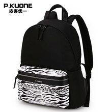P. kuone marca diseño patrón de cebra bolso de escuela femenina mochila viajes mujeres back pack mochila femenino del bolso mochila sac a dos