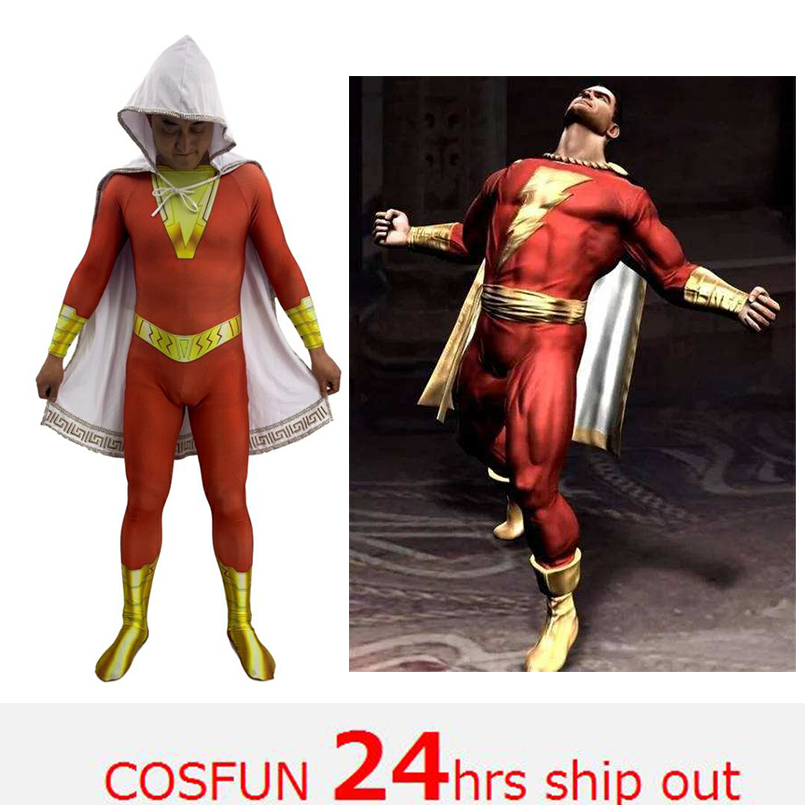 Captain Marvel Costume Shazam Billy Cosplay Costumes Billy Batson Costume Cloak Suit with Brooch Superhero Bodysuit Halloween Co