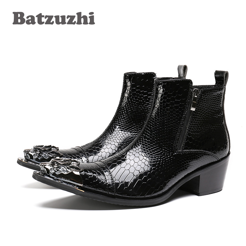 Batzuzhi POP Rock Black Men Boots Pointed Iron Toe Zipper Men's Ankle Boots Fashion Autumn Leather Men Footwear bota masculina