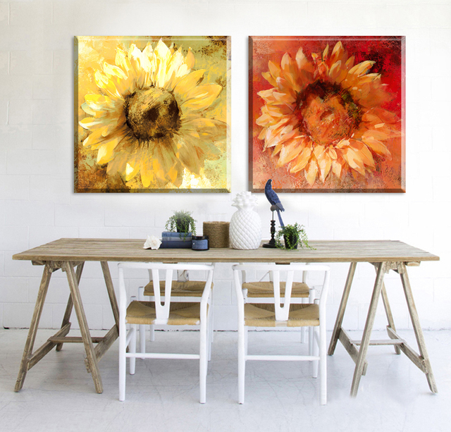 2 Piece Cheap oil Painting canvas art abstract Bloom sunflowers ...
