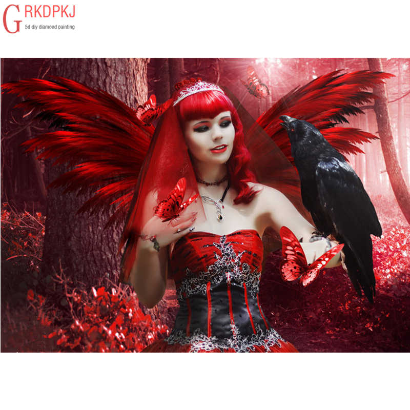 Red Angel Raven Diamond Embroidery 5D DIY Diamond Painting Cross Stitch Art Gift Full Square Round Mosaic Pattern Decoration Set