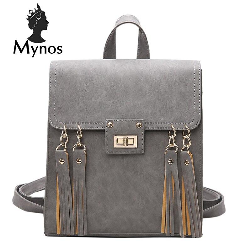 MYNOS Luxury Brand Designer Leather Big Capacity Women Backpack Travel School Backpack Bag For Teenage Girl