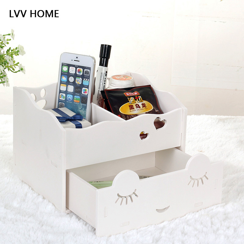 LVV HOME detachable drawer cosmetic storage box/Waterproof recyclable smiling face multifunction jewelry box