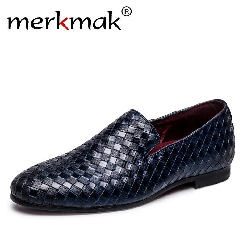 Merkmak 2018 Zapatos Hombre marca de lujo trenza de cuero Casual conducción Oxfords zapatos hombres mocasines zapatos italianos para hombres pisos