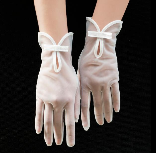 Women's Elegant White Color Mesh Glove Female Spring Summer Sunscreen Transparent Lace Glove R1477