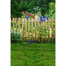 Laeacco Green Backdrop For Photography Spring Grass Wooden Fence Flowers Garden Baby Outdoor Scene Photo Background Studio