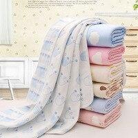 Cute Baby Bath Towel Cotton Gauze Muslin Children Blankets Bedding Infant Newborn Swaddle Kids Multifunctional Quilt
