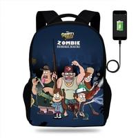 Cartoon Gravity Falls Backpacks School Bags Usb Charging SchoolBags for girls boys orthopedic packbag mochila escolar book Bag