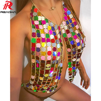 Reaqka women Crop tops 2017 summer cropped mike's halter top club sexy T Shirt  metal chain strap backless sequin Tank Camis