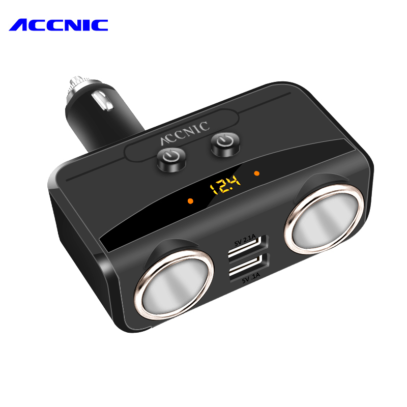 Universal 2 Ways <font><b>Car</b></font> <font><b>Cigarette</b></font> Lighter Power Socket Splitter Power Adapter DC <font><b>12V</b></font> 2.1A+1A Dual USB <font><b>Charger</b></font> with Voltage display image
