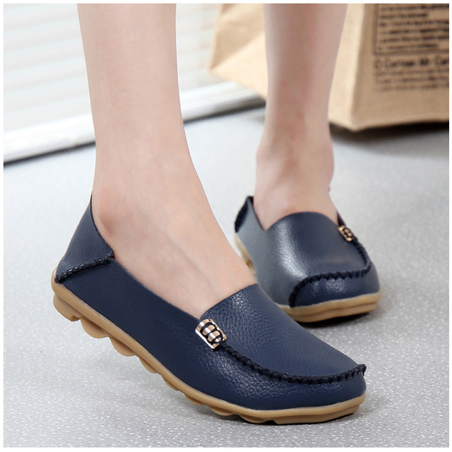 KUIDFAR 2019 Fashion Genuine Leather Women Flats Shoes Female Casual Flat Women Loafers 16 color Moccasin Women's Shoes
