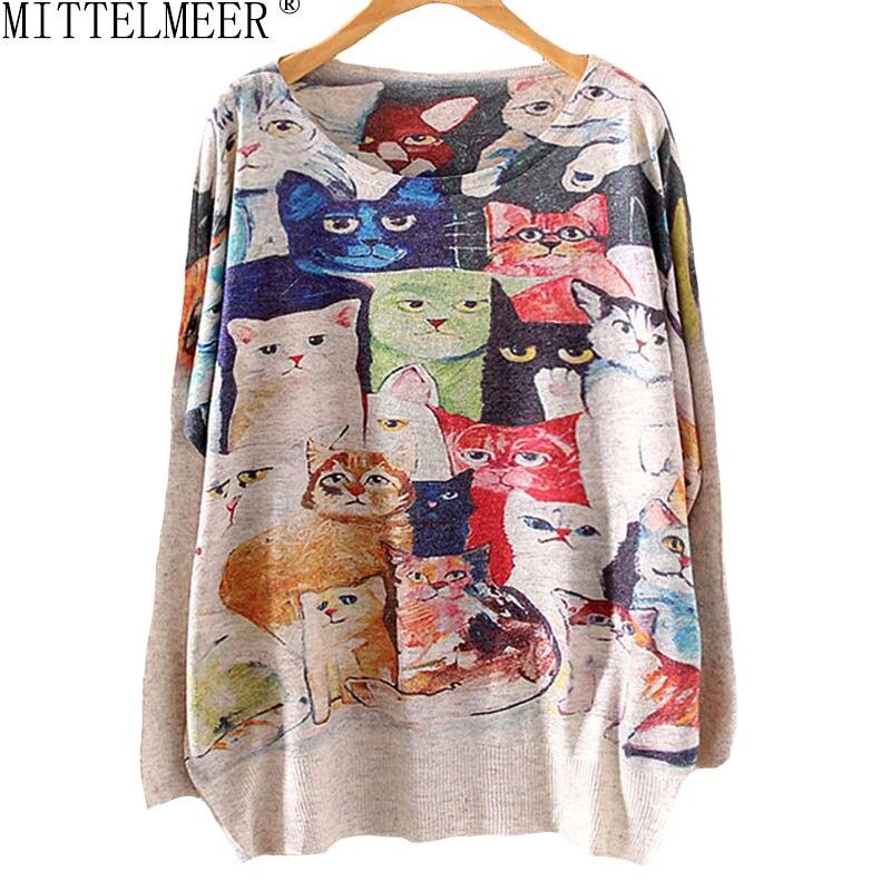 MITTELMEER new women's clothing sweater Santa and the reindeer round collar knitting CAT bat sleeve printed sweaters 19 model