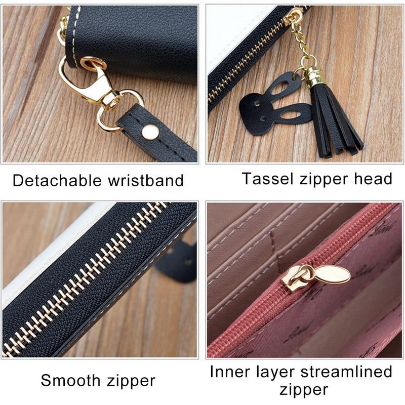 Leather Wallet Women Luxury Long Clutch Ladies Purse Card Holder Tassel Women Wallets  Zipper Coin Phone Money Pocket Bag W052