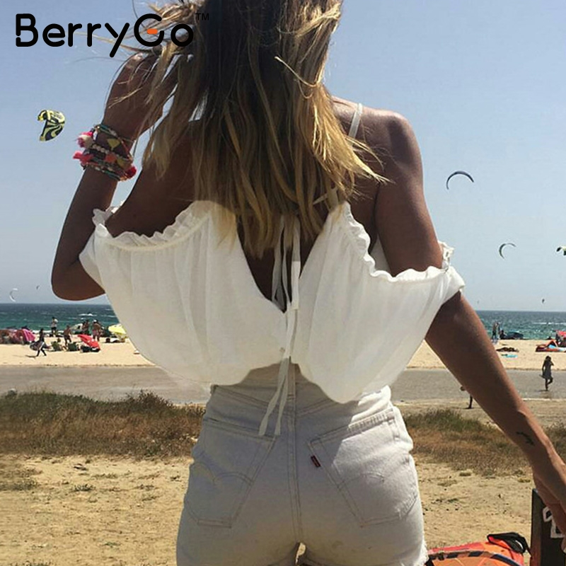 BerryGo Ruffle Chiffon White Blouse Lace Up Beach Blouse Shirt Women Tops Elastic Backless Feminine Blouse Chemise Femme Blusas