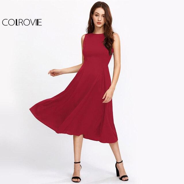 COLROVIE Swing Summer Dress 2017 Burgundy Zipper Back Women Brief Elegant Midi  Tank Dress Fashion New A Line Skater Party Dress 1558e6f7aa