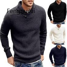 2019 Autumn Winter Sweater Cardigan Men Brand Casual Slim Sweaters Male Warm Thick Hedging Turtleneck S-2XL