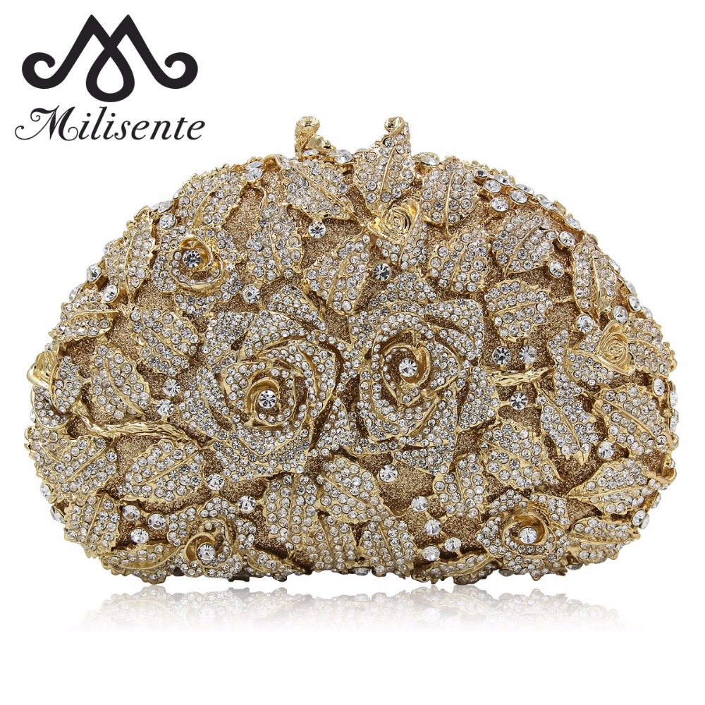 Milisente Floral Women Rose leaves Luxury Crystal Clutch Evening Bag Bling Metal Wedding Party Clutches Gold milisente women luxury rhinestone clutch evening handbag ladies crystal wedding purses dinner party bag gold
