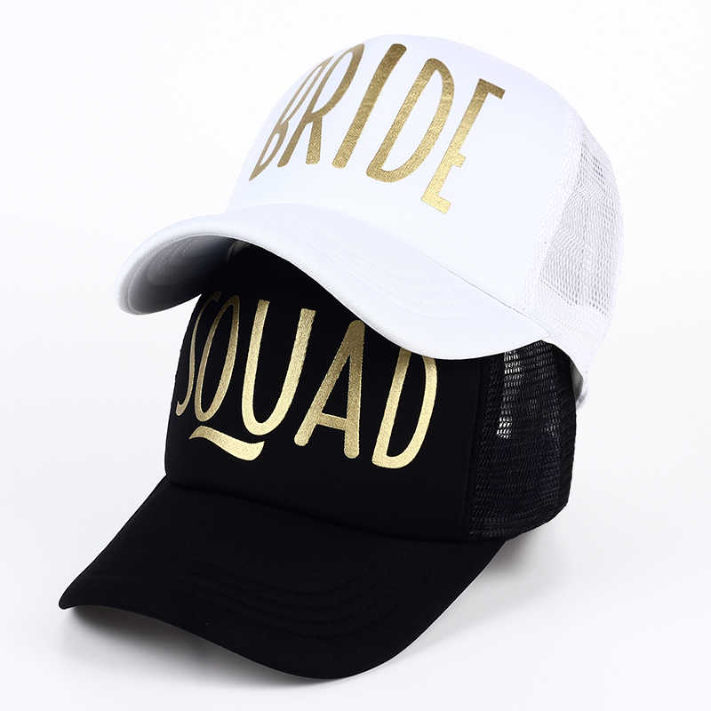 3a1e8f43 SQUAD BRIDE Party Hat Women Girl Wedding Mesh Baseball Cap Brand Bachelor  Club Group Snapback Caps