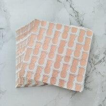 100pcs Foil Rose Gold Pineapple Paper Napkin  Boy Girl Gender Reveal Party Tissue Serviettes Wedding Favor Decoration 33*33cm