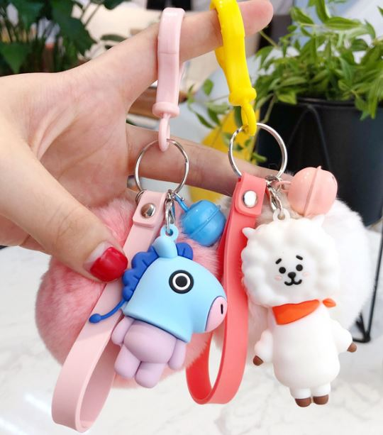 1 Pc Lovely Kpop Bts Bt21 Cartoon Fur Ball Keychain Plush Keychain Bag Pendant Accessories Keyring For Girls Plush Toy #6
