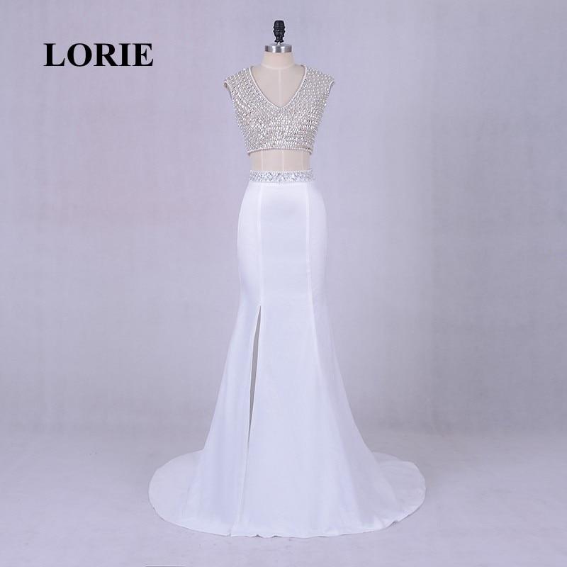 LORIE Elegant Evening font b Dresses b font Luxury for Women V Neck Beaded Pearls Satin