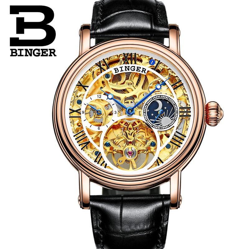 Switzerland BINGER Men Watch Big Mechanical Watch tourbillon Leather Strap Moon phase Sapphire Waterproof Automatic Watches 43mm