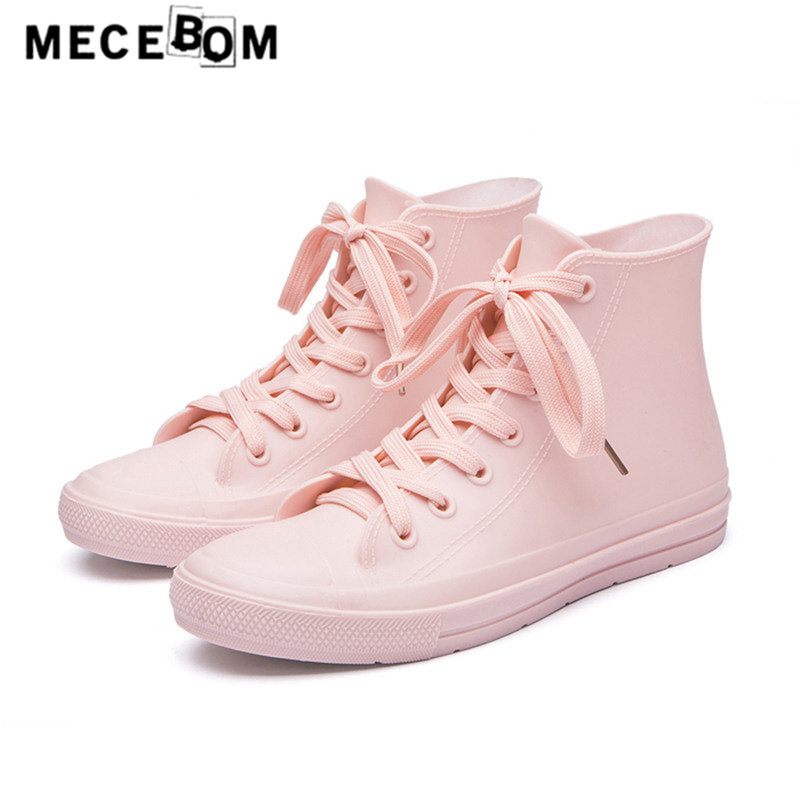 Women shoes fashion ladies rainboots high-top breathable lace-up flats waterproof ankle boots quality size 35-41 g01 lttl fashion men shoes casual pant leather platform mens ankle boots high quality vulcanize shoes high top lace up flats shoes