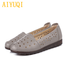 AIYUQI Women shoes flat 2019 new spring and summer women genuine leather big size 41 42 holes eye mother casual