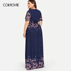 Image 2 - COLROVIE Vestido playero largo bohemio de talla grande, vestidos con estampado de flores de color azul marino, Vestido informal de talle alto para mujer de verano 2019