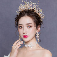 Korean Princess Full Pearl Crown and Earrings Set for Brides Tiaras Wedding Hair Ornaments Bridal Gold Crowns Crystal Headbands