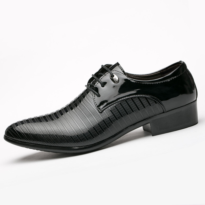 Fashion Men Lace-up Oxfords Dress Shoes Mens Pu Leather Business Office Wedding Flats Man Casual Party Driving Shoes 38-48