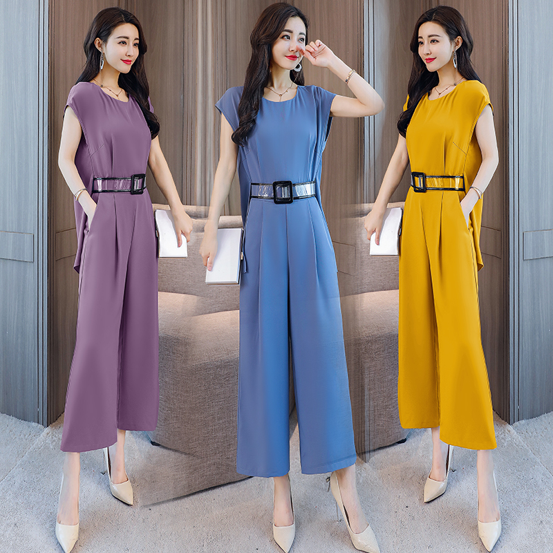 Top Selling 4 Colors Rompers 2018 Summer Overalls Short Sleeve Back Slit Belted Wide Leg Playsuits long Jumpsuit for women B878