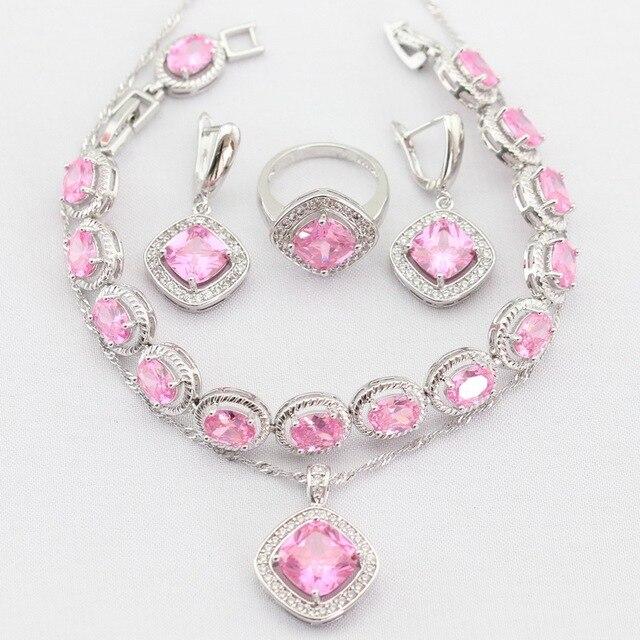 Прелести Цветок Розовый Создания Топаз Серебряный Цвет Женщины Ювелирные Изделия Устанавливает Ожерелье Серьги Кольца Браслет Рождественский Подарок