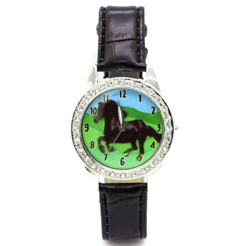 Sıcak Popüler Marka Yeni Siyah At Hayvan Izle Kuvars Kristal Elmas Siyah Kayış Kol Saati Izle Hediye Y7012