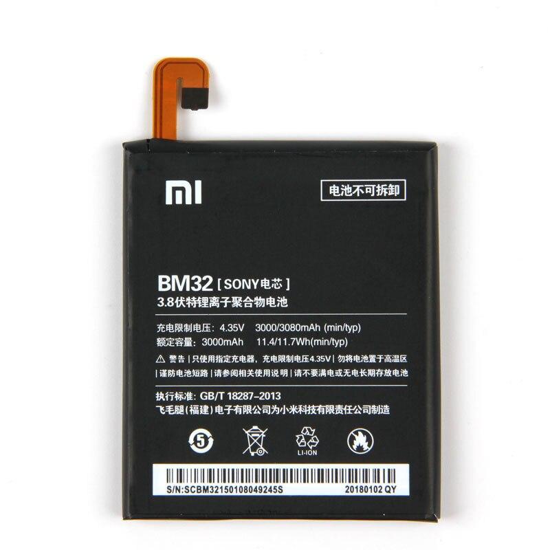 Original Xiaomi BM32 Mi4 Phone battery For Xiaomi Mi4 Mi 4 3080mAh Mobile Phone Replacement Lithium Polymer BM32 Battery in Mobile Phone Batteries from Cellphones Telecommunications