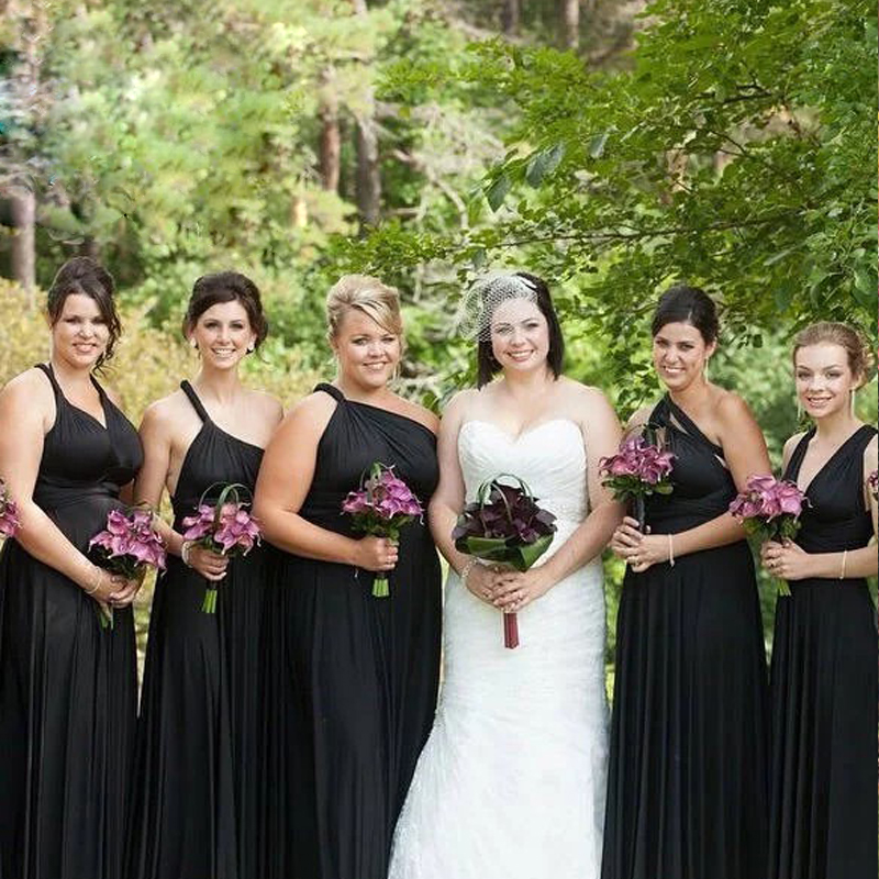 Black Multiway Bridesmaid Dress Long Maxi Infinity Dress Convertible Dress Formal Wrap Dress With Sleeves Styles