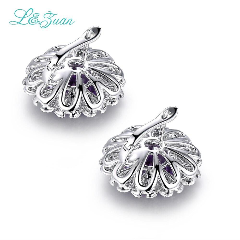 L & Цзуань модные 5.96ct природный Аметист Фиолетовый Камень Элегантный 925 Клипсы Fine Jewelry Серьги для женщин