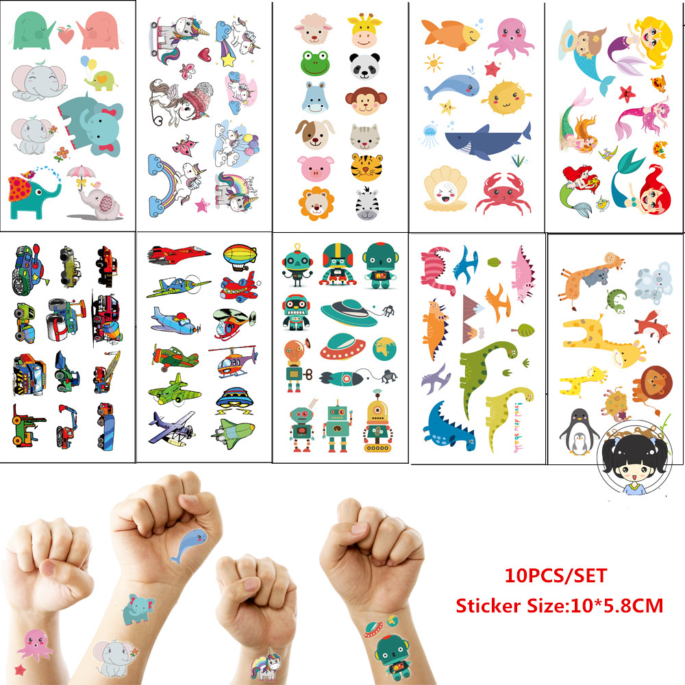 10pcs/set Tatouage Temporaire Cartoon Unicorn Mermaid Dinosaur Tattoo For Children Cute Fake Tattoo Waterproof Kids Tattoo