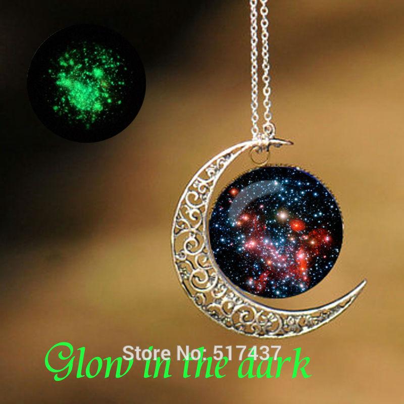 Glow in The Dark Glass Galaxy Necklace Art Glass Cabochon Necklace Glow in The Dark Jewelry
