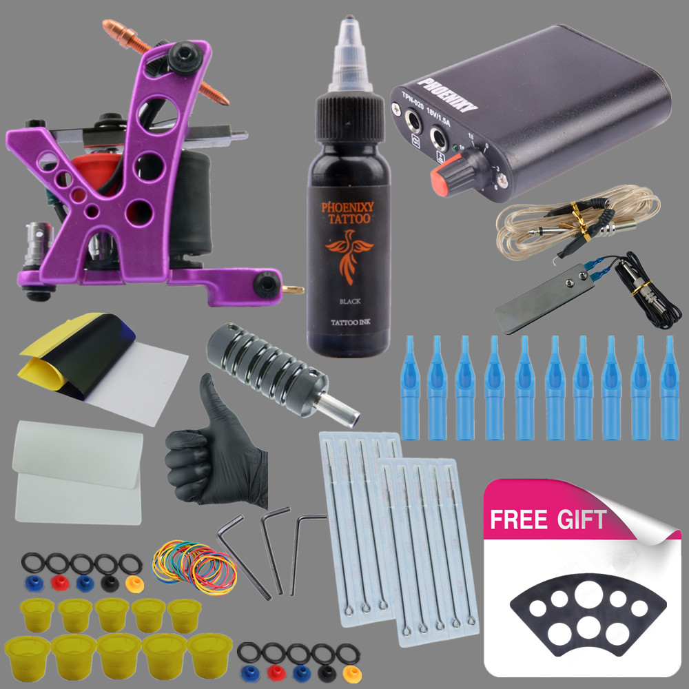Complete Professional Tattoo Kit With High Quality USA Brand Ink Mini Tattoo Power Supply Tattoo Set for Needle Tips