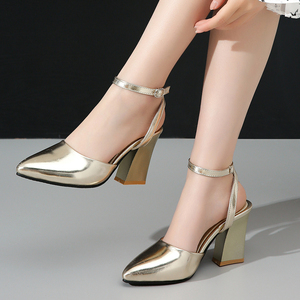 Image 5 - 2020 new Women Pumps Thick Heels Ladies Party Wedding shoes Gold silver Shoes Summer Buckle Ankle StrapFootwear Size 34 43 f532