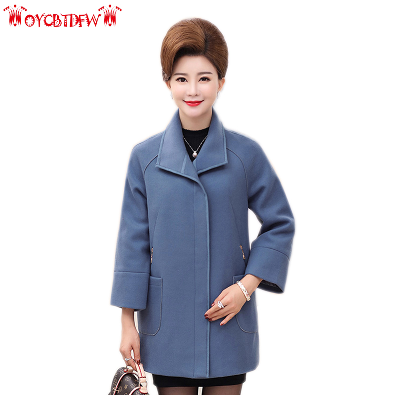 Winter overcoat women 2018 fashion new solid color plus size medium long Single Breasted Long sleeves female woolen coat ll573
