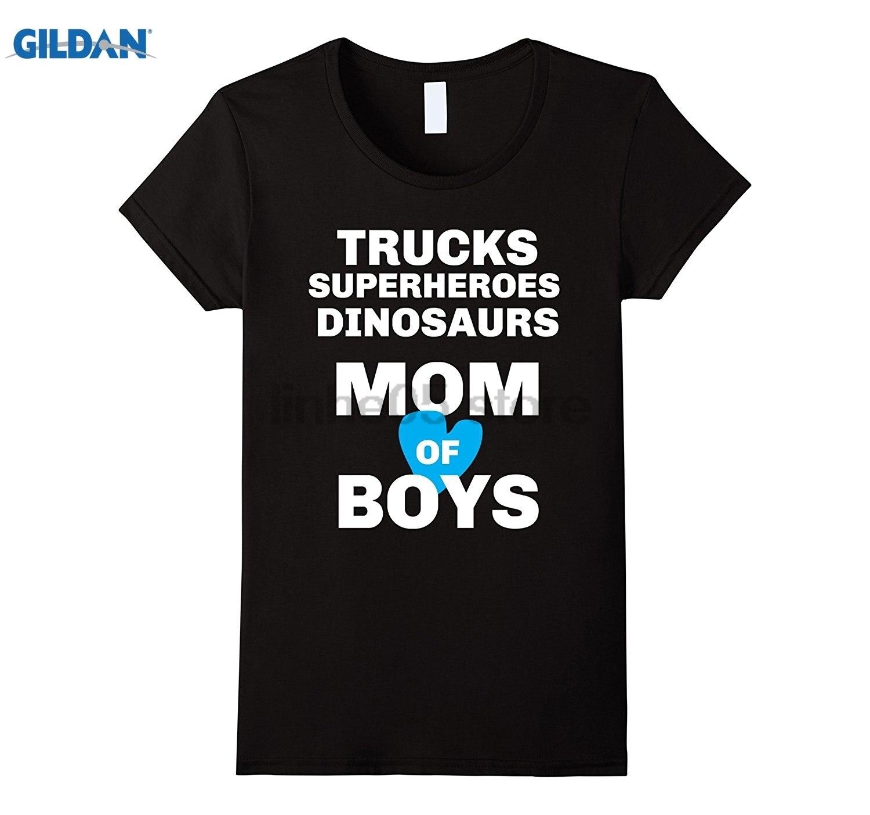 Возьмите Для женщин грузовиков Супергерои динозавры рубашка для мамы маленьких мальчиков летнее платье футболка