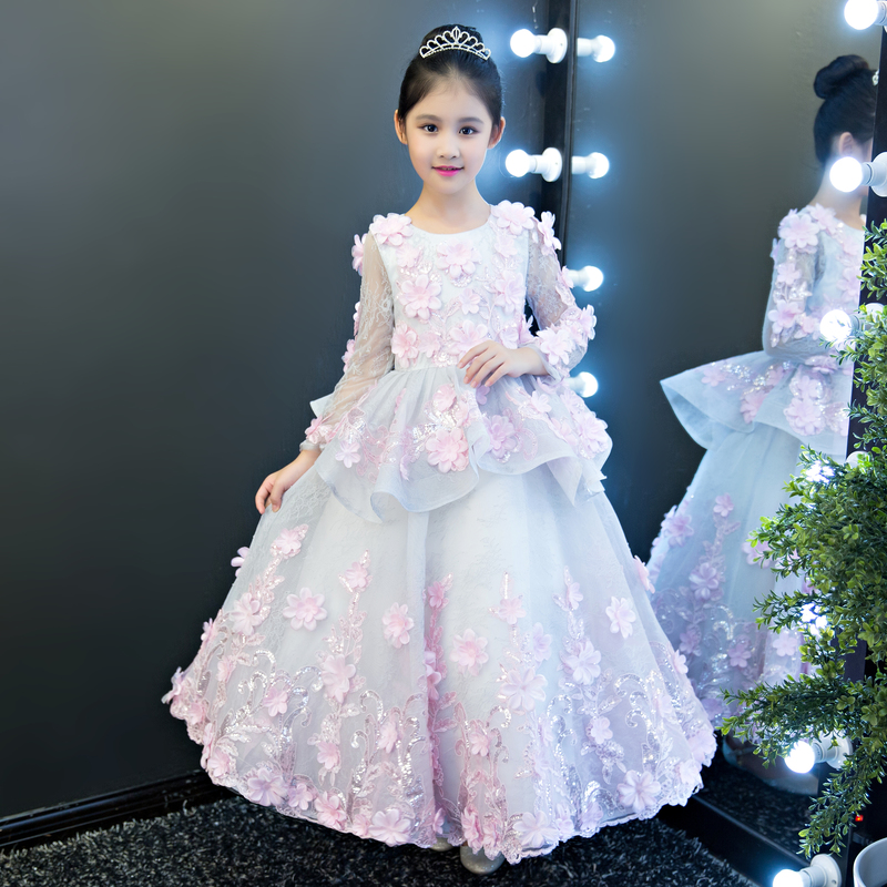 3eb3a43a0 2018 Luxury Kids Girls Elegant Birthday Wedding Party Flowers Princess Ball  Gown Dress Children Dance Host Pageant Fashion Dress