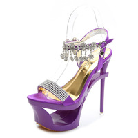 High Heels Rhinestone Sandals 15cm Heeled Women Wedding Shoes Open Toe Summer Crystals Platform Sandals Sandalias Mujer Purple