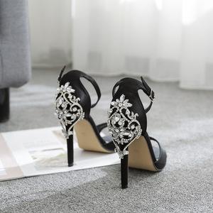 Image 3 - صنادل نسائية مثيرة Ctystal أحذية نسائية فاخرة كبيرة من حجر الراين الخنجر صنادل كعب 11.5 سنتيمتر تخفيضات كبيرة