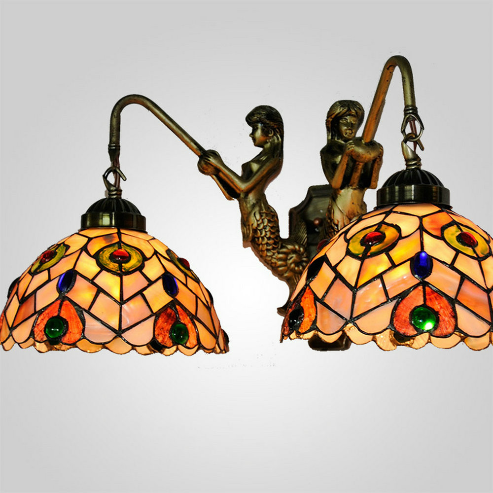 Mamei livraison gratuite intérieure 8 pouce tiffany paon mur lampe pour chambre décoration e27e26