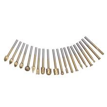20 HSS титановое покрытие маршрутизатор фрезерования шлифовальные буровые насадки скорость Комплект для дерева роторное фрезерование набор режущих инструментов