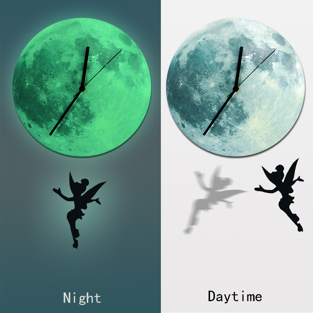 Glow in the dark wall clock kids funlife fairy glowing moon pendulum clockglow in the dark moon amipublicfo Images